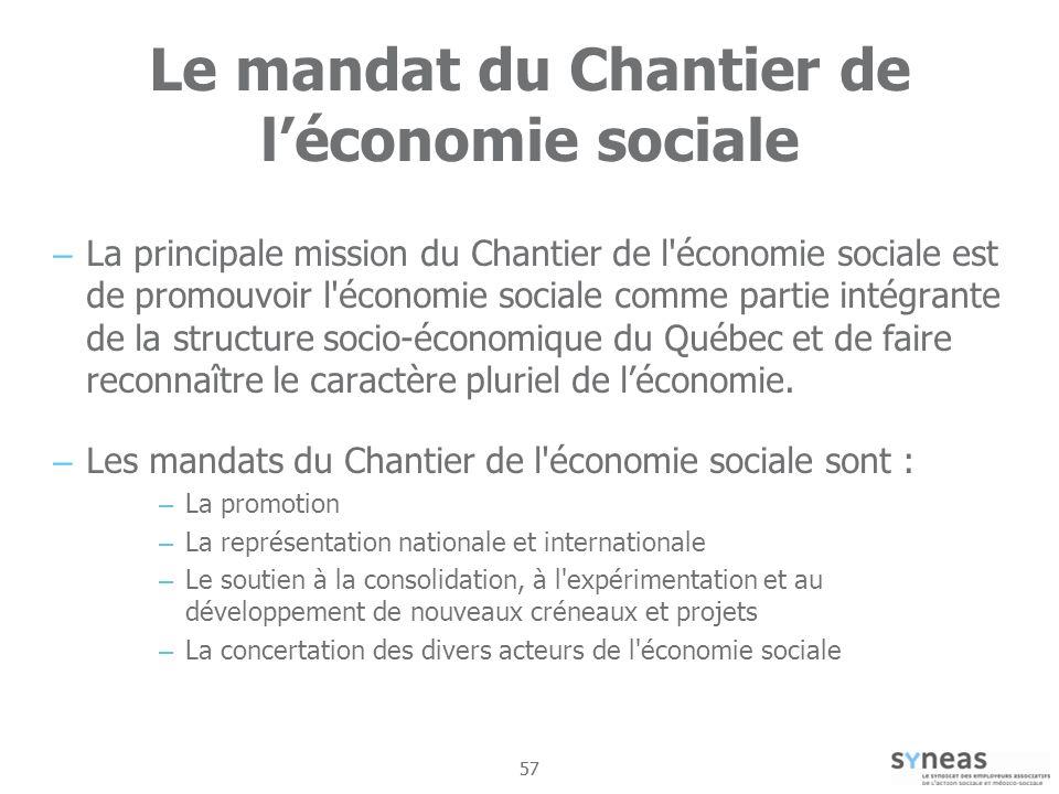 Le mandat du Chantier de l'économie sociale