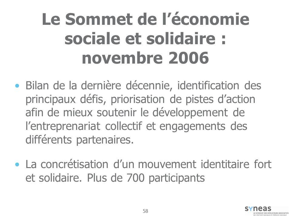 Le Sommet de l'économie sociale et solidaire : novembre 2006
