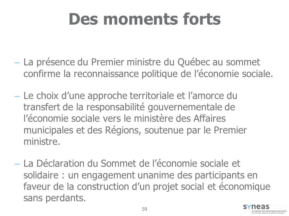 Des moments forts La présence du Premier ministre du Québec au sommet confirme la reconnaissance politique de l'économie sociale.