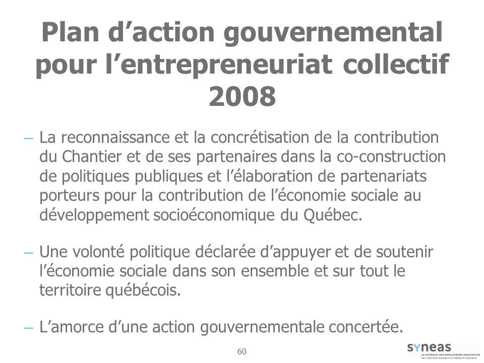 Plan d'action gouvernemental pour l'entrepreneuriat collectif 2008