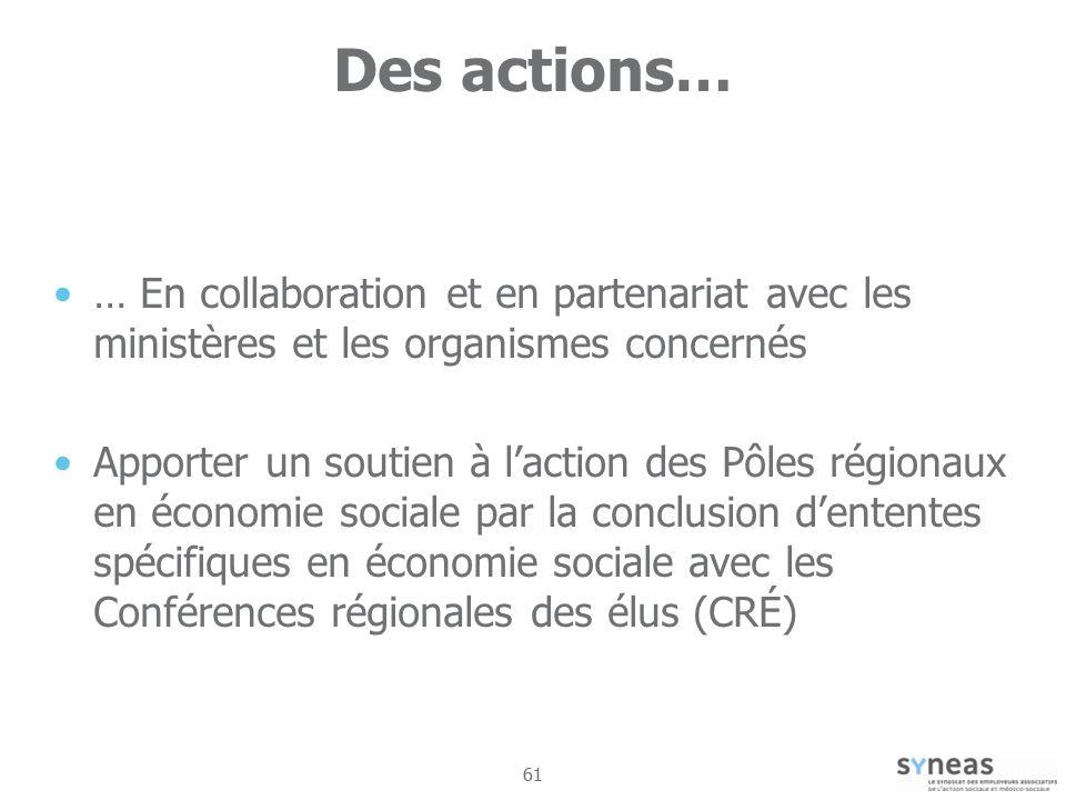 Des actions… … En collaboration et en partenariat avec les ministères et les organismes concernés.