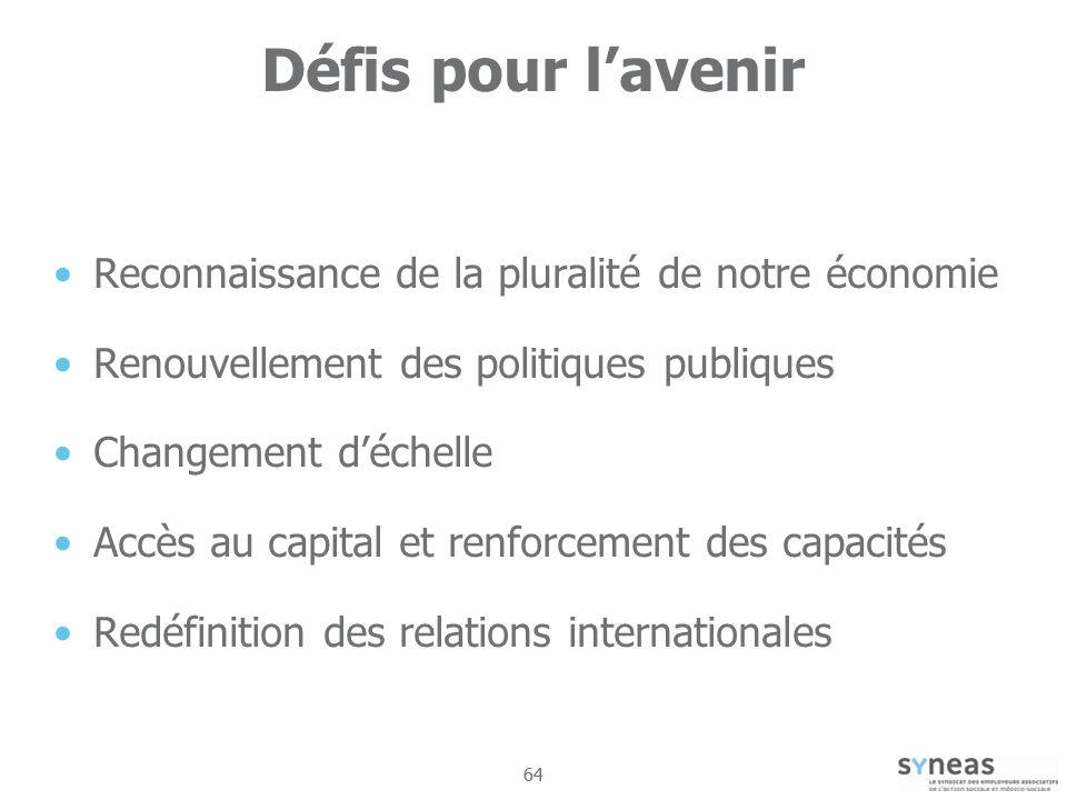 Défis pour l'avenir Reconnaissance de la pluralité de notre économie