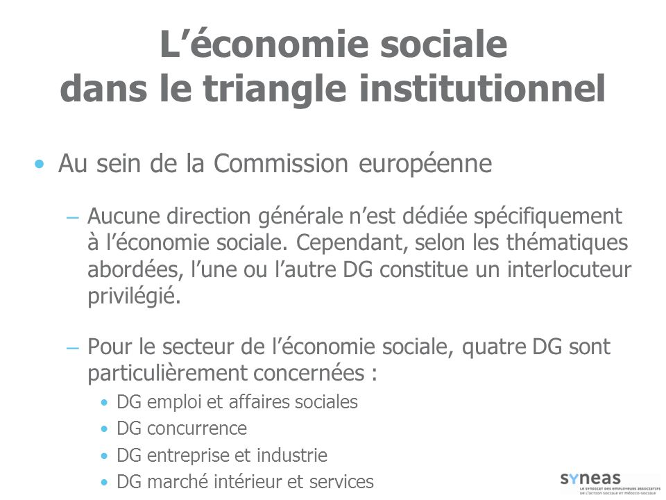 L'économie sociale dans le triangle institutionnel