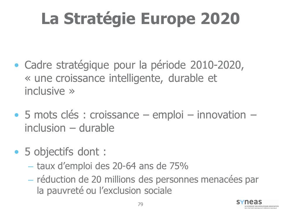 La Stratégie Europe 2020 Cadre stratégique pour la période 2010-2020, « une croissance intelligente, durable et inclusive »
