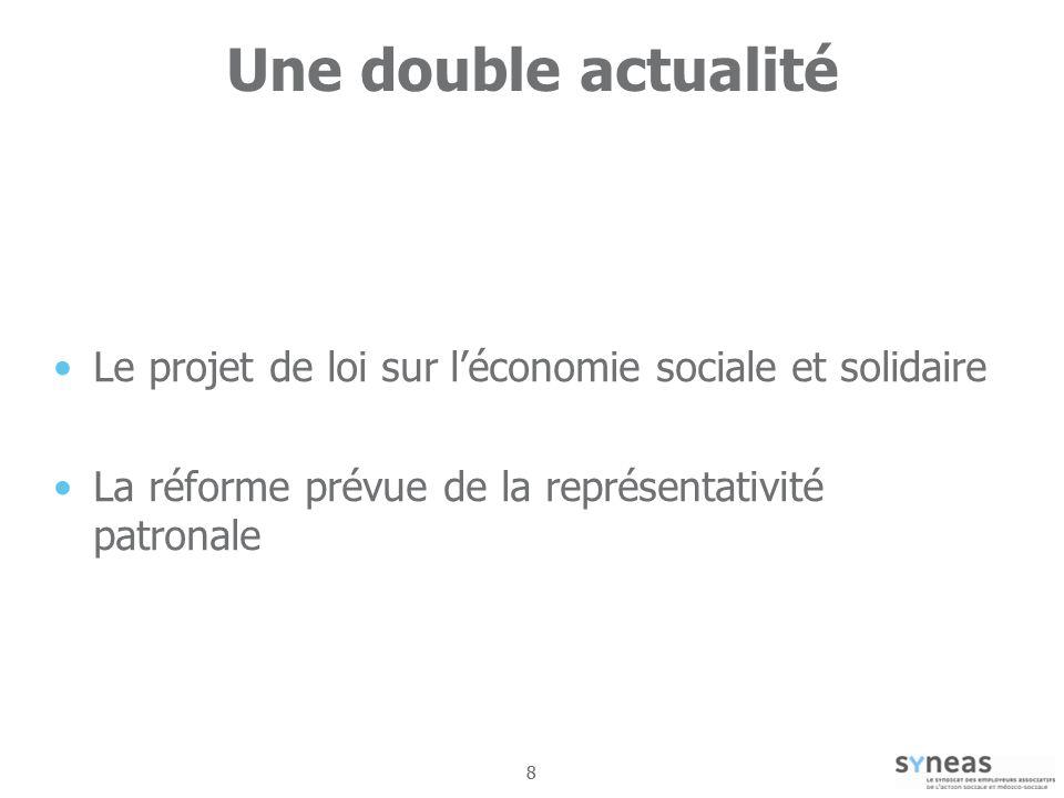 Une double actualité Le projet de loi sur l'économie sociale et solidaire. La réforme prévue de la représentativité patronale.