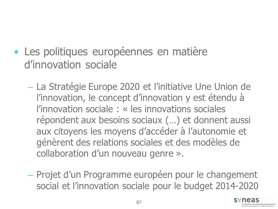 Les politiques européennes en matière d'innovation sociale