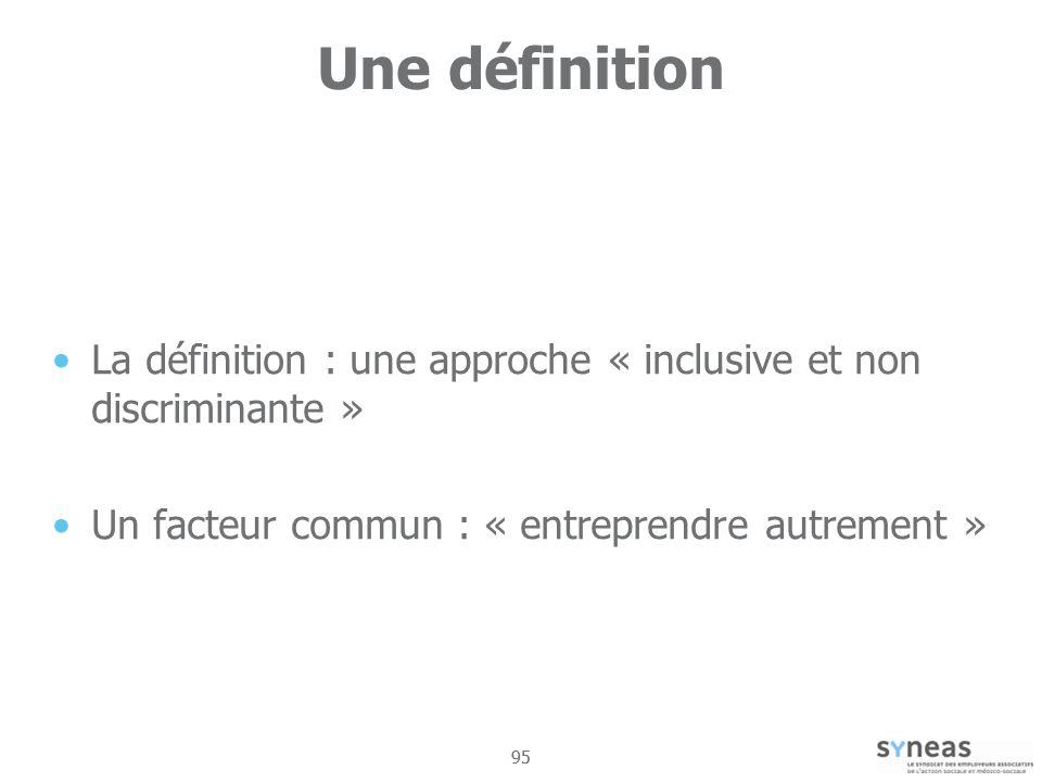 Une définition La définition : une approche « inclusive et non discriminante » Un facteur commun : « entreprendre autrement »