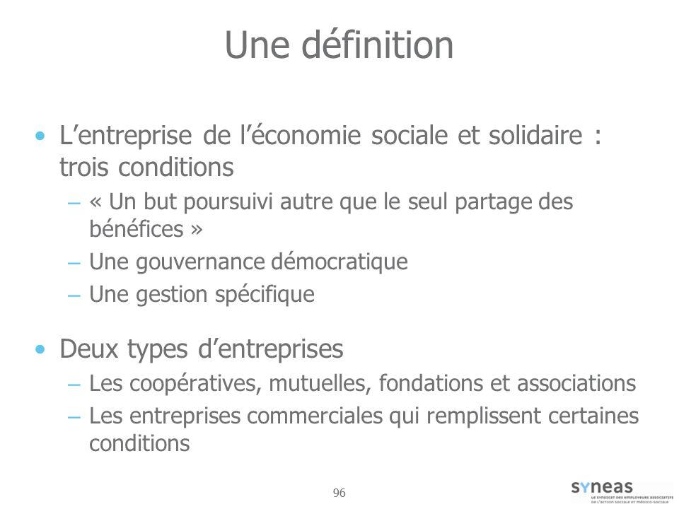 Une définition L'entreprise de l'économie sociale et solidaire : trois conditions. « Un but poursuivi autre que le seul partage des bénéfices »