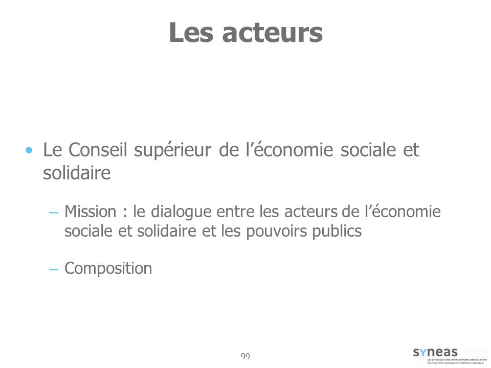 Les acteurs Le Conseil supérieur de l'économie sociale et solidaire