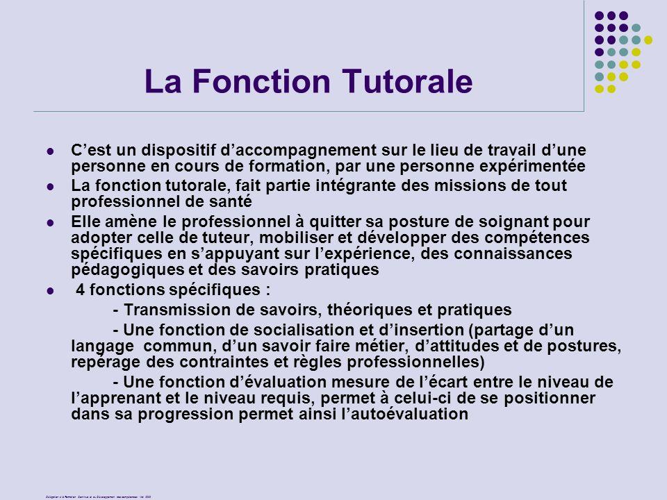 La Fonction Tutorale C'est un dispositif d'accompagnement sur le lieu de travail d'une personne en cours de formation, par une personne expérimentée.