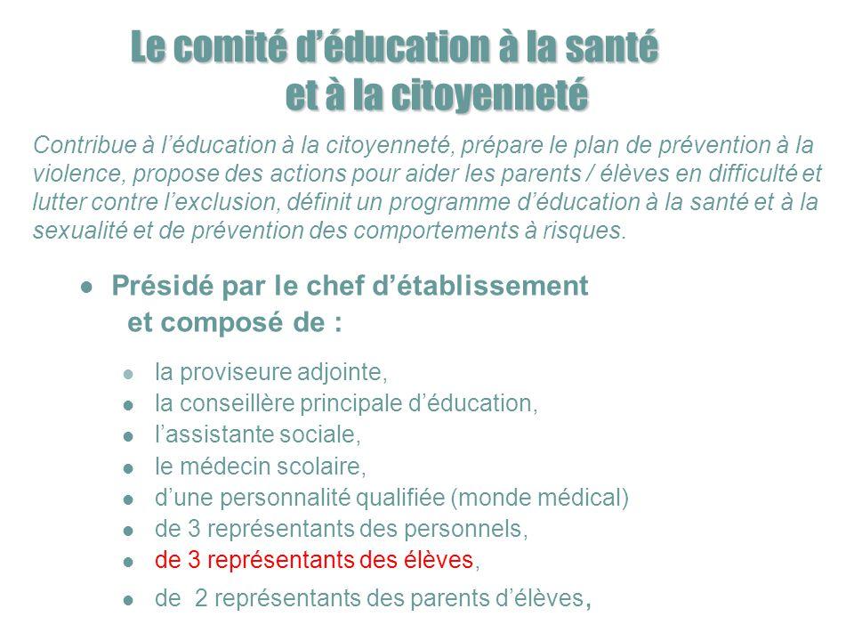 Le comité d'éducation à la santé et à la citoyenneté