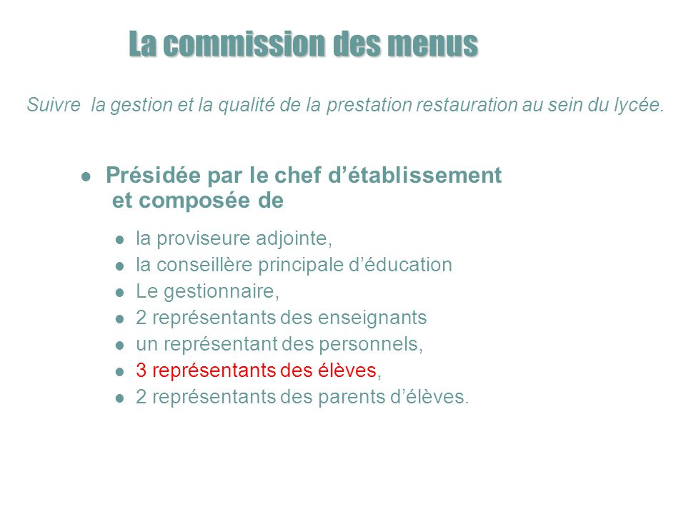 La commission des menus