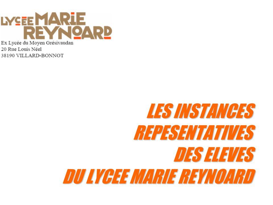 LES INSTANCES REPESENTATIVES DES ELEVES DU LYCEE MARIE REYNOARD