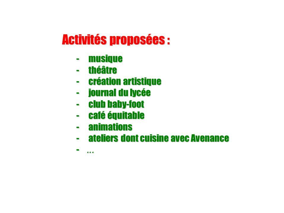 Activités proposées : musique théâtre création artistique