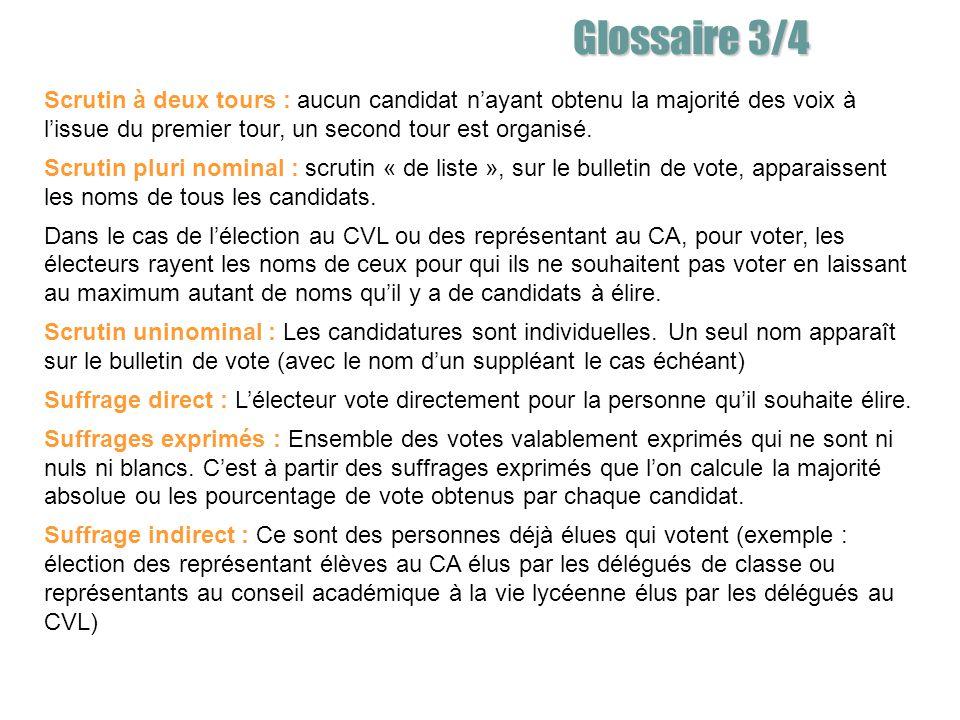 Glossaire 3/4 Scrutin à deux tours : aucun candidat n'ayant obtenu la majorité des voix à l'issue du premier tour, un second tour est organisé.