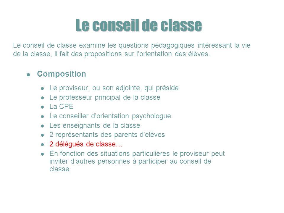 Le conseil de classe Composition