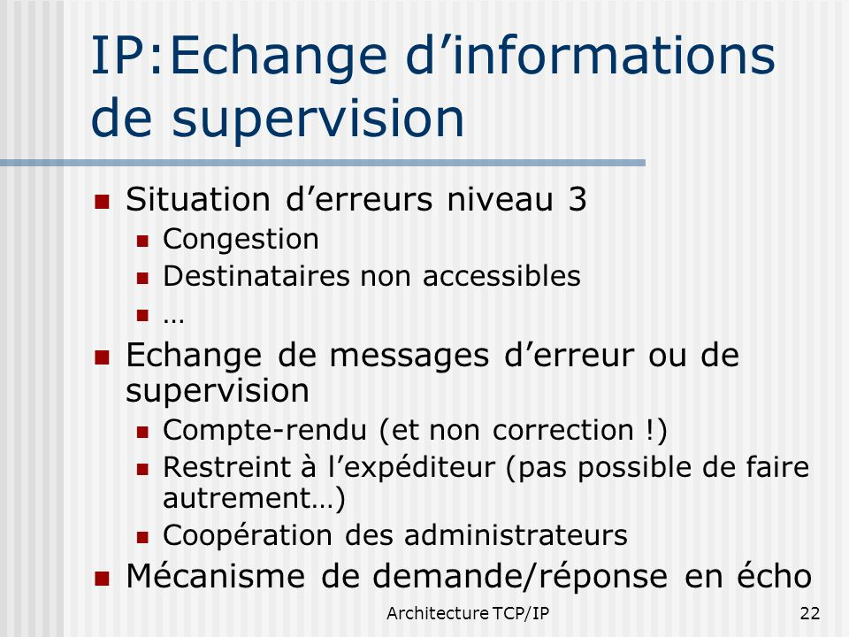 IP:Echange d'informations de supervision