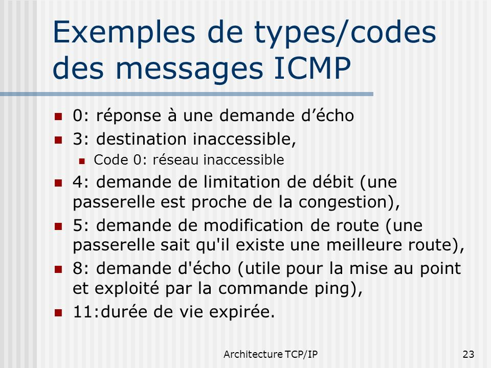 Exemples de types/codes des messages ICMP