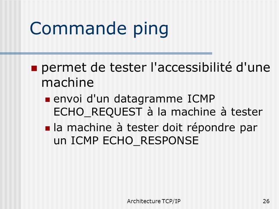 Commande ping permet de tester l accessibilité d une machine