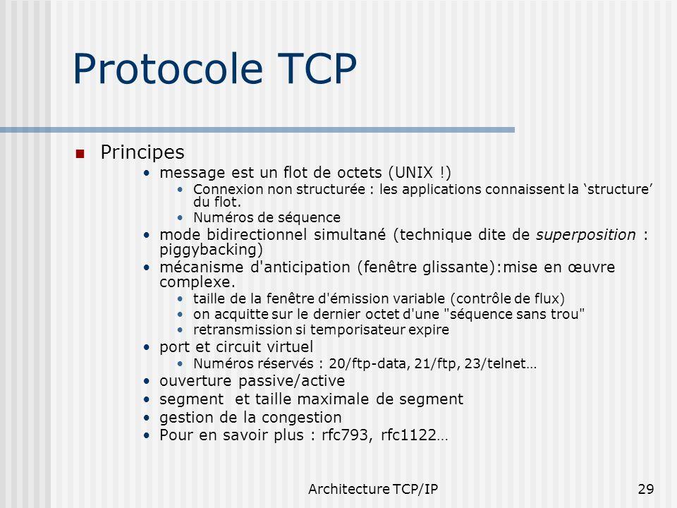 Protocole TCP Principes message est un flot de octets (UNIX !)