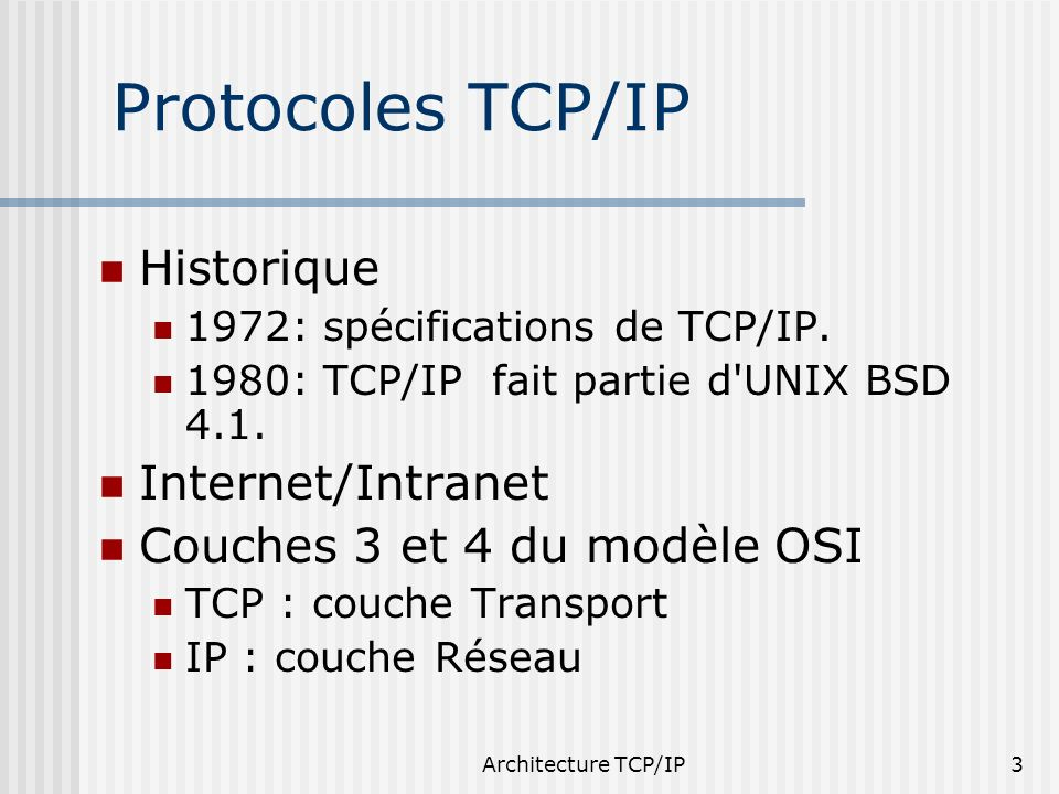 Protocoles TCP/IP Historique Internet/Intranet