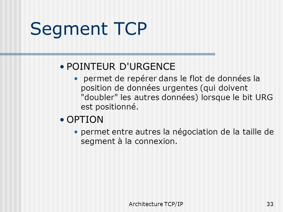 Segment TCP POINTEUR D URGENCE OPTION