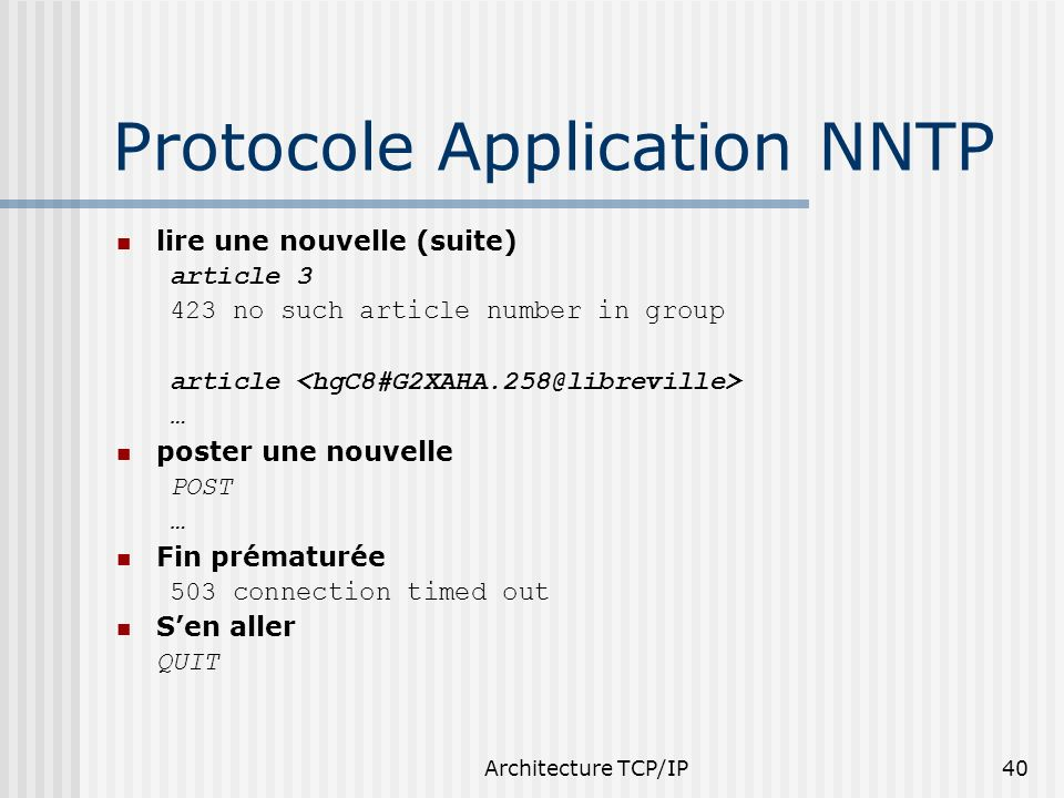 Protocole Application NNTP