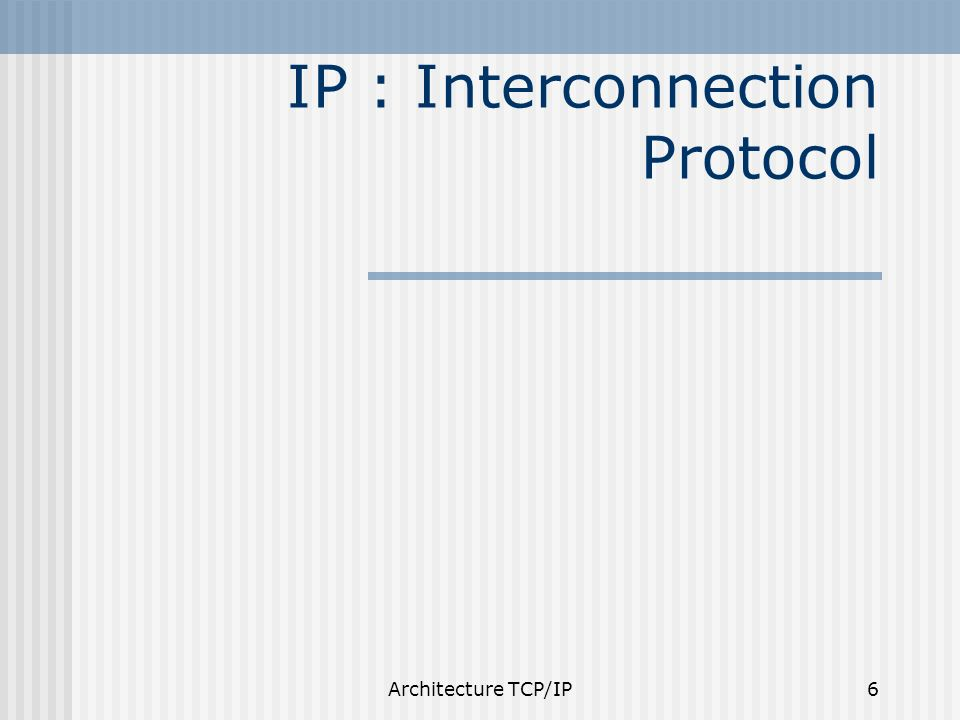 IP : Interconnection Protocol