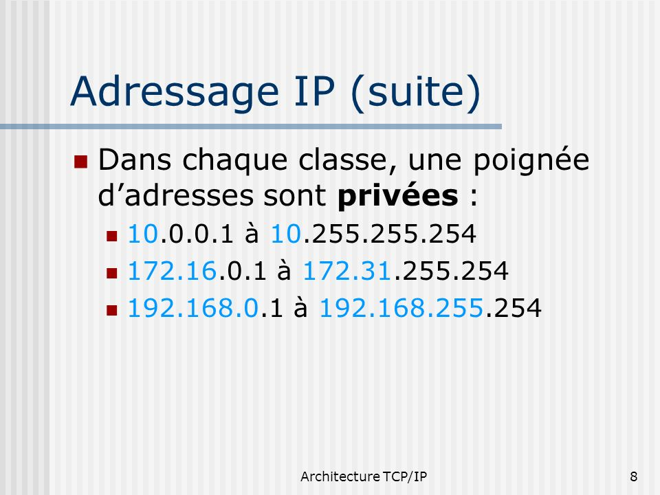 Adressage IP (suite)Dans chaque classe, une poignée d'adresses sont privées : 10.0.0.1 à 10.255.255.254.