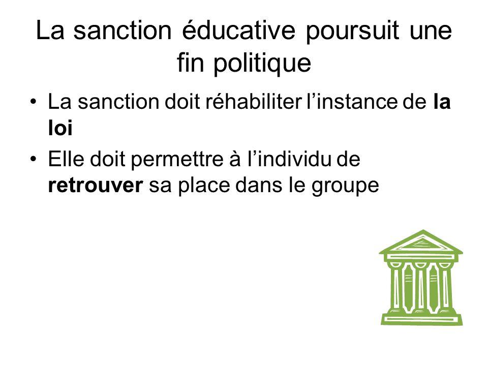 La sanction éducative poursuit une fin politique
