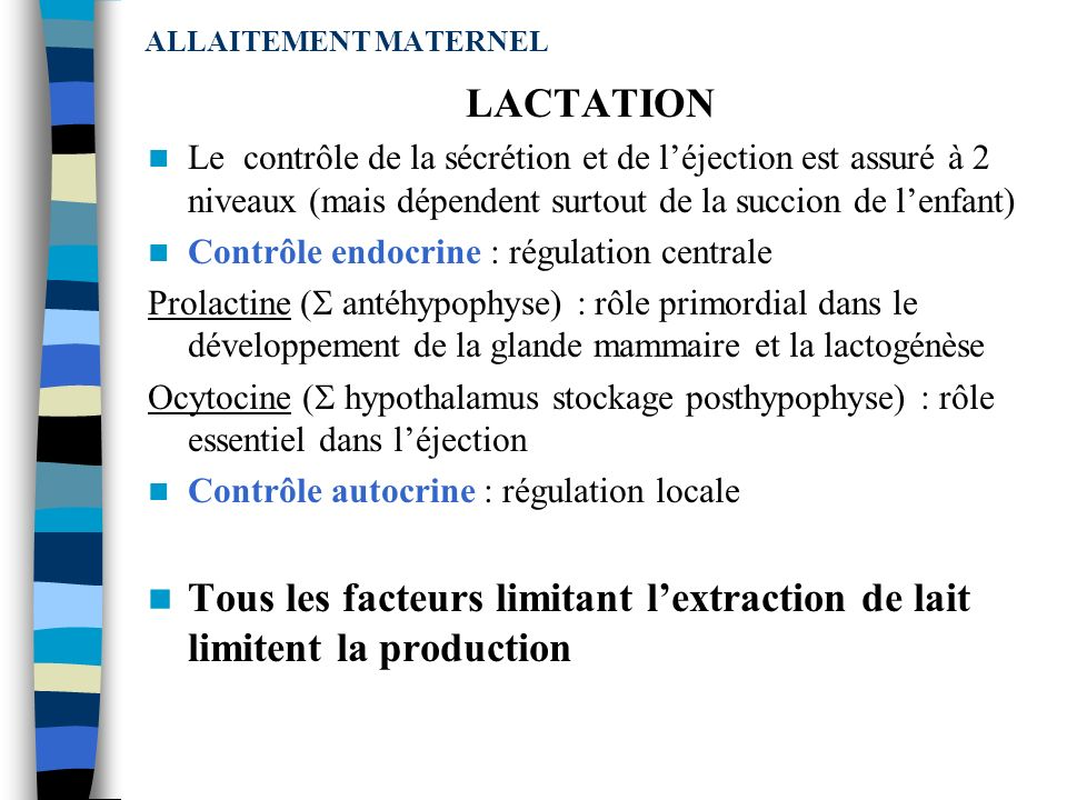 Tous les facteurs limitant l'extraction de lait limitent la production
