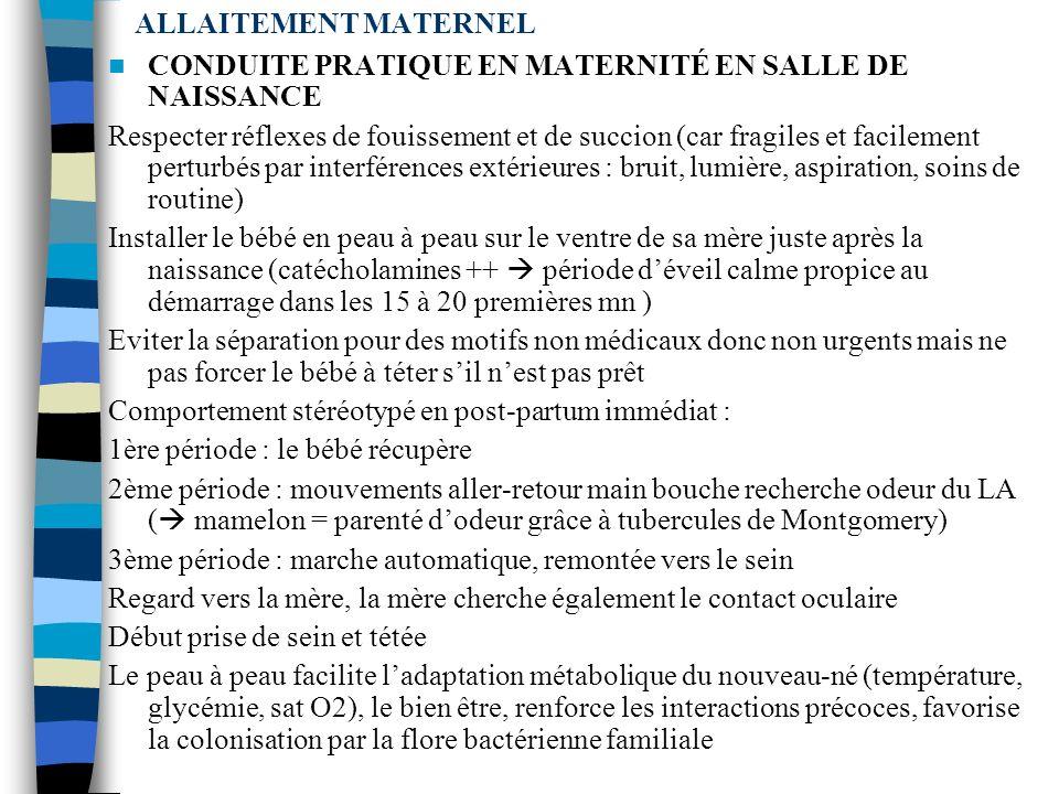 ALLAITEMENT MATERNEL CONDUITE PRATIQUE EN MATERNITÉ EN SALLE DE NAISSANCE.
