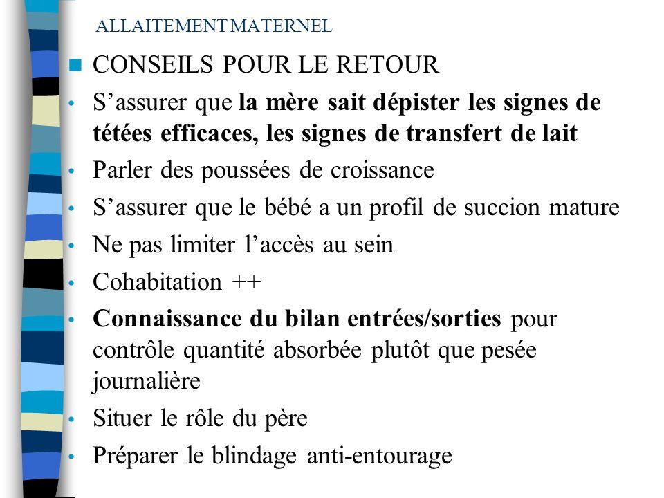 CONSEILS POUR LE RETOUR
