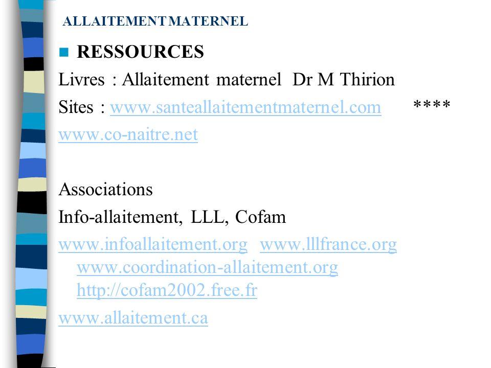 Livres : Allaitement maternel Dr M Thirion