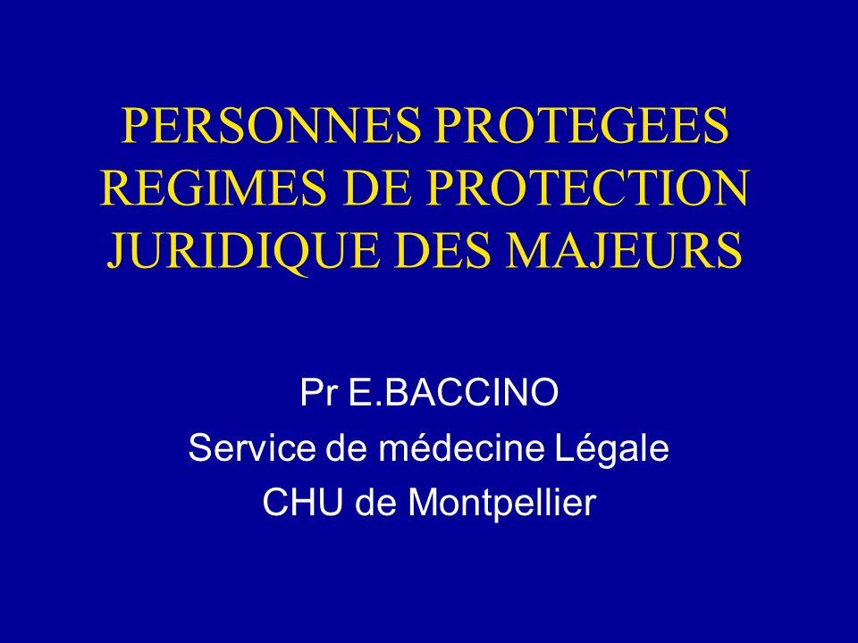 PERSONNES PROTEGEES REGIMES DE PROTECTION JURIDIQUE DES MAJEURS