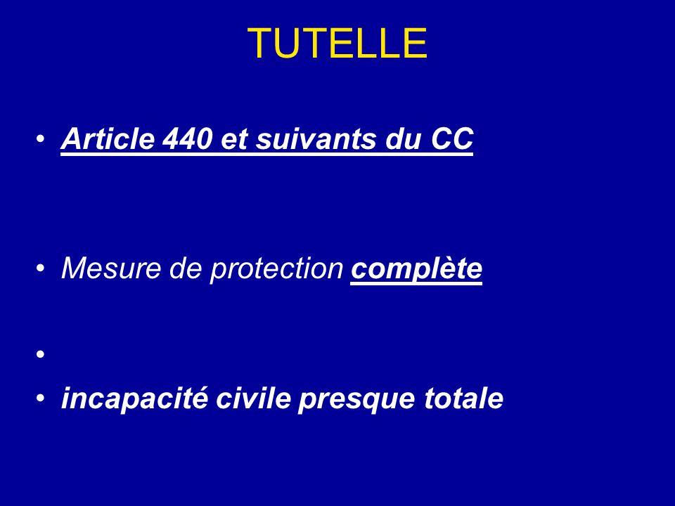 TUTELLE Article 440 et suivants du CC Mesure de protection complète
