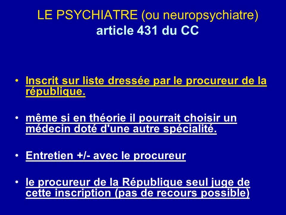 LE PSYCHIATRE (ou neuropsychiatre) article 431 du CC
