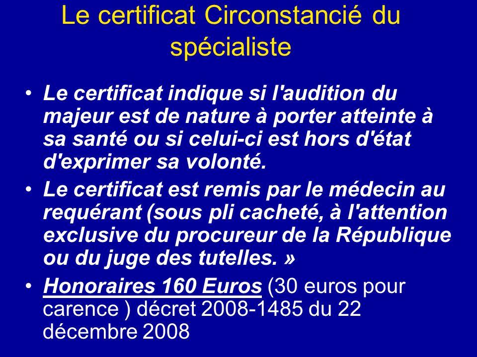 Le certificat Circonstancié du spécialiste