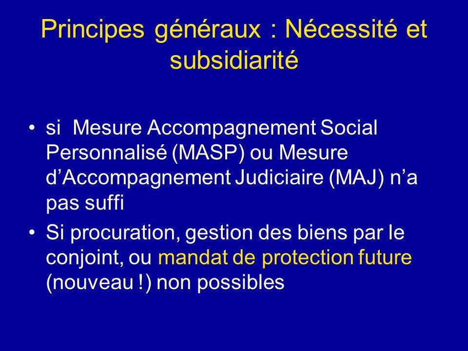 Principes généraux : Nécessité et subsidiarité