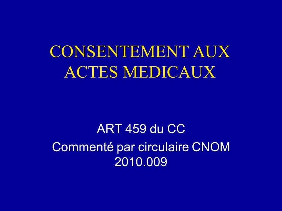 CONSENTEMENT AUX ACTES MEDICAUX
