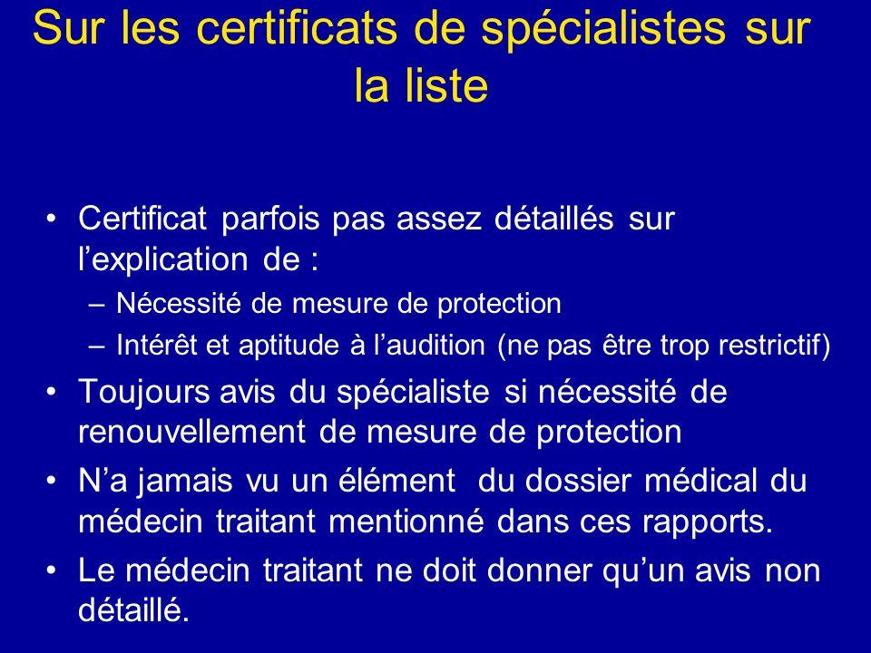 Sur les certificats de spécialistes sur la liste