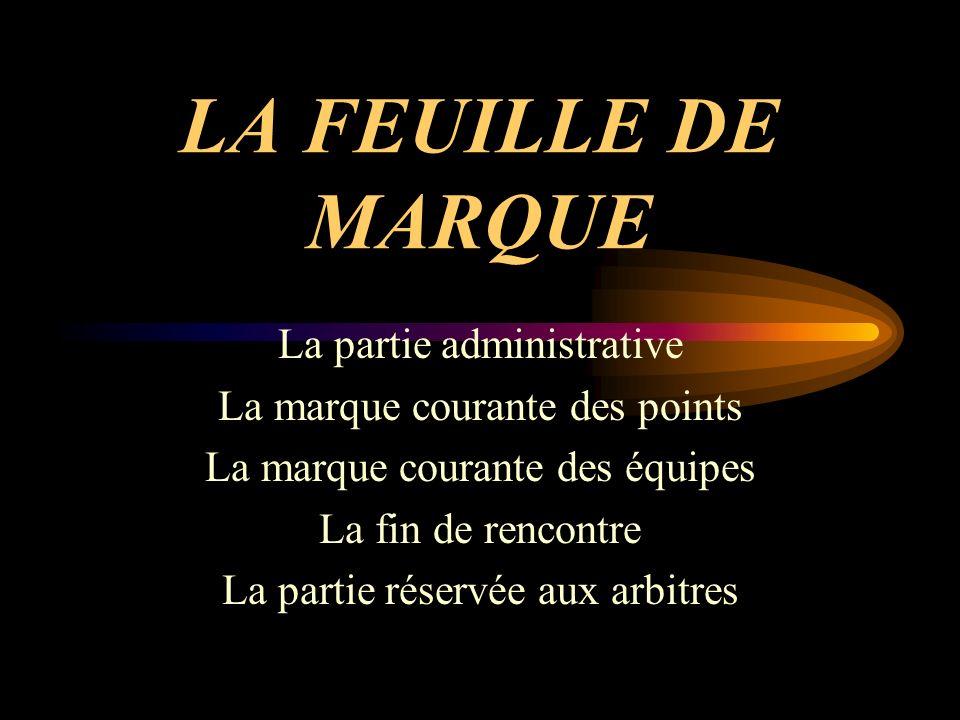 LA FEUILLE DE MARQUE La partie administrative