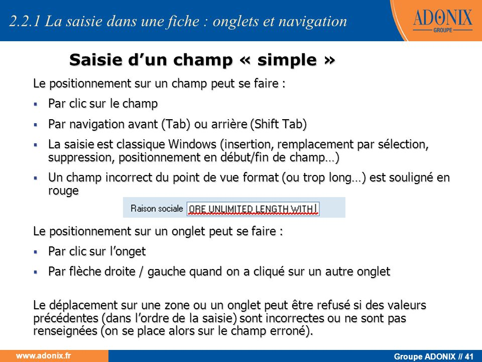 Saisie d'un champ « simple »