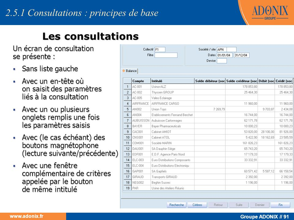 2.5.1 Consultations : principes de base