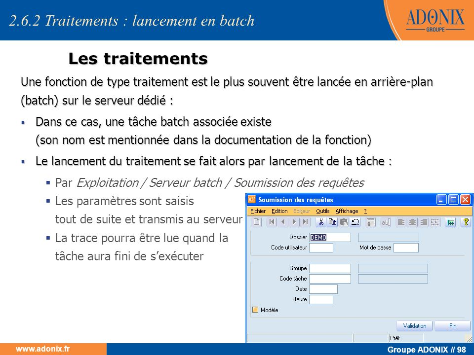 2.6.2 Traitements : lancement en batch