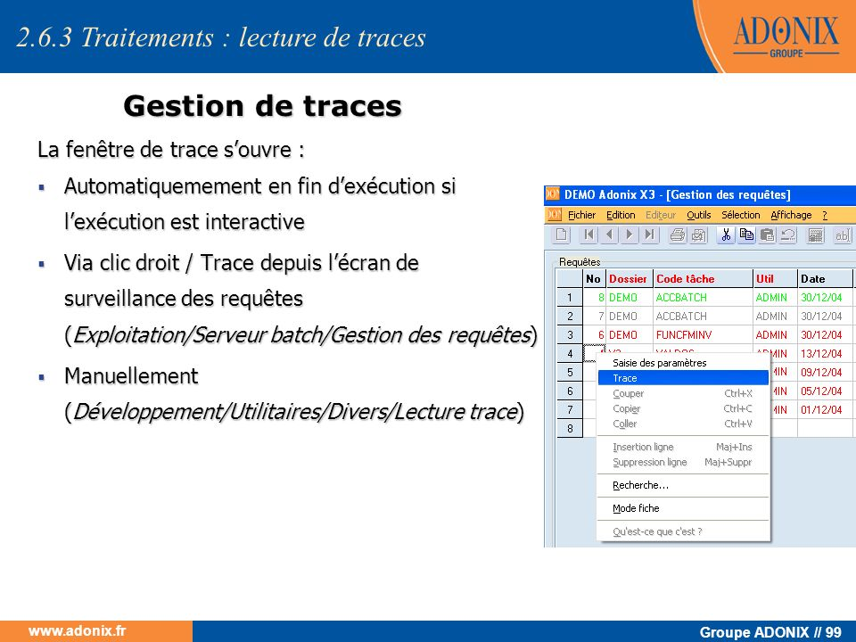 2.6.3 Traitements : lecture de traces