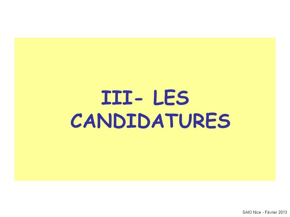 III- LES CANDIDATURES SAIO Nice - Février 2013