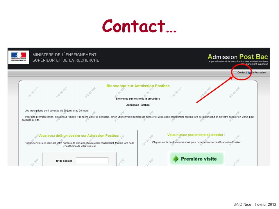 Contact… SAIO Nice - Février 2013