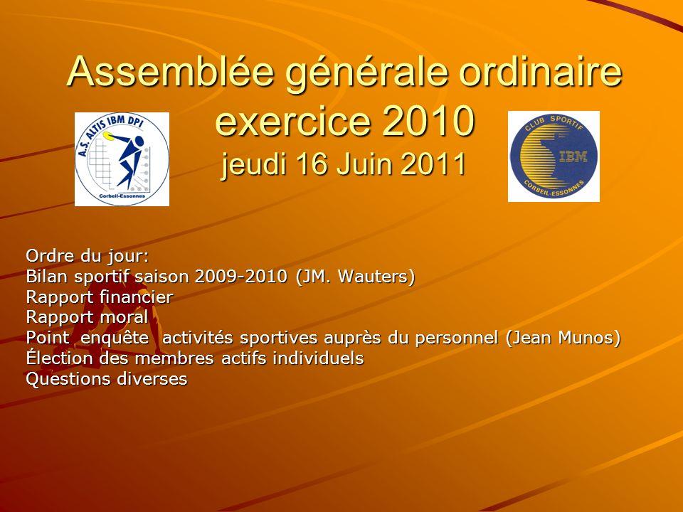 Assemblée générale ordinaire exercice 2010 jeudi 16 Juin 2011