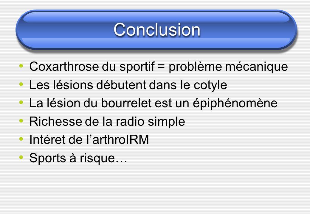 Conclusion Coxarthrose du sportif = problème mécanique